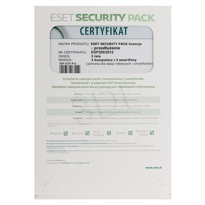 ESET SECURITY PACK -3STAN/36M+3 SMARTFONY/36M UPG