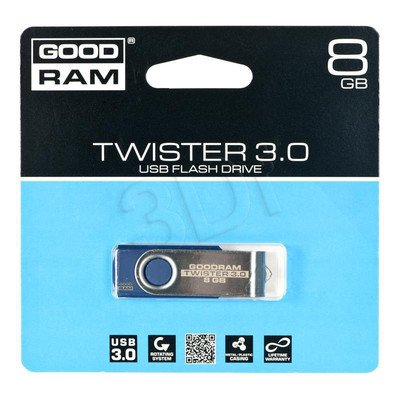 Goodram Flashdrive TWISTER 8GB USB 3.0 Niebieski