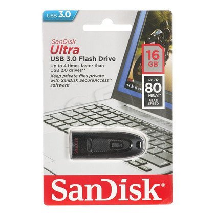 Sandisk Flashdrive Ultra 16GB USB 3.0 Czarny