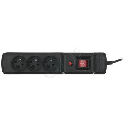 ActiveJet LISTWA ZASILAJĄCA PRZECIWPRZEPIĘCIOWA COMBO 3Gn (3 gniazda; kolor czarny; 1,5m; kabel z IEC320; bezpiecznik auto)