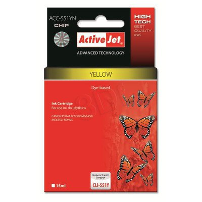 ActiveJet ACC-551YN tusz żółty do drukarki Canon (zamiennik Canon CLI-551Y) Supreme/ chip