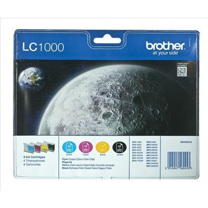 BROTHER Tusz LC1000VALBP=LC-1000VALBP, Zestaw CMYBk, LC1000C+LC1000M+LC1000Y+LC1000BK