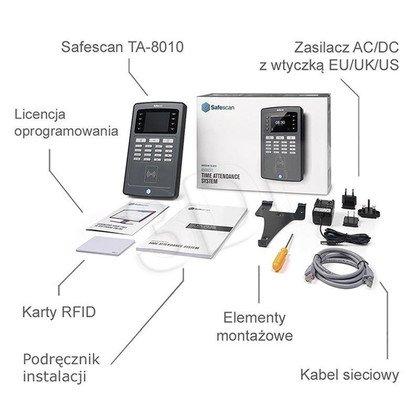SAFESCAN SYSTEM REJESTRACJI CZASU PRACY TA-8010 CZYTNIK KART RFID/KOD PIN/KONTROLA LAN/EKRAN TFT