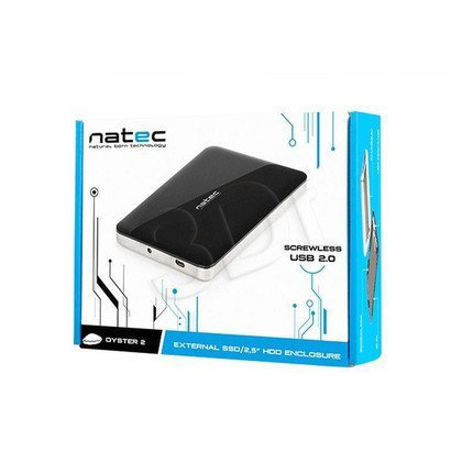 "NATEC OBUDOWA USB 2.0 HDD/SSD 2.5"" SATA OYSTER 2 ALUMINIUM BLACK SLIM SCREWLESS"