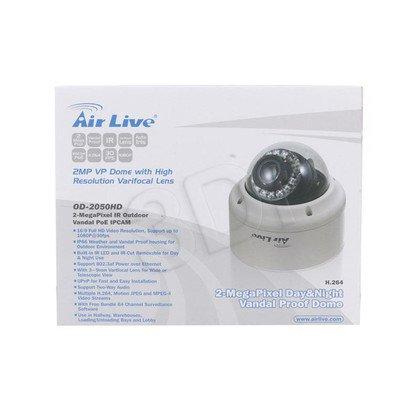 OVISLINK AirLive [ OD-2050HD] Kamera IP kopułkowa [zewnętrzna] [2 Mega-Pixel] [PoE 802.3af] [ONVIF] [H.264] [IR 10m] [wymienny obiektyw, IP66, Full HD