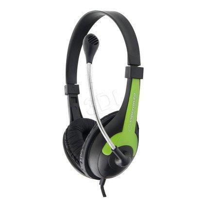 Słuchawki nauszne z mikrofonem Esperanza ROOSTER (Czarno-zielone)
