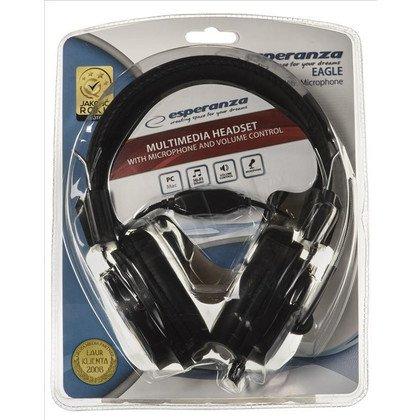 Słuchawki nauszne z mikrofonem Esperanza EAGLE (Czarno-szare)