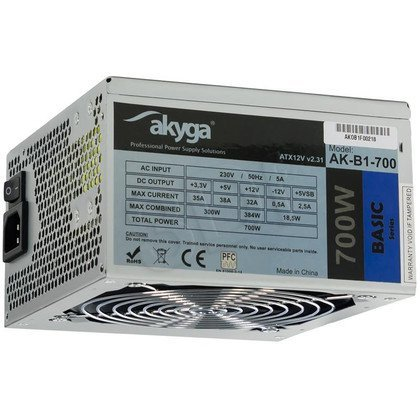AKYGA ZASILACZ BASIC ATX 700W P4 FAN12CM 5XSATA 2xMOLEX 2XPCI-E 6 i 6+2PIN