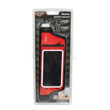 """X-ZERO PAS SPORTOWY NA TELEFON MAX. 5,5"""", KIESZEŃ NA KARTY/KLUCZE X-P3781R CZERWONY"""