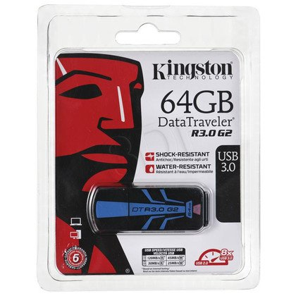 Kingston Flashdrive DataTraveler R3.0 G2 64GB USB 3.0 Czarno-niebieski