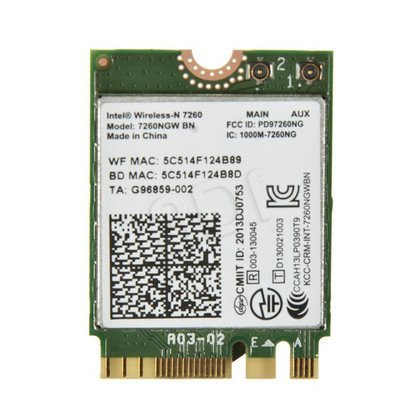 KARTA WI-FI INTEL WIRELESS-N 7260 2x2 BGN+BT M.2