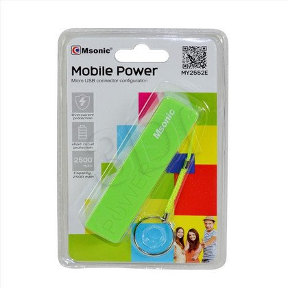 MSONIC POWER BANK 2500MAH, LI-ION MY2552E ZIELONY