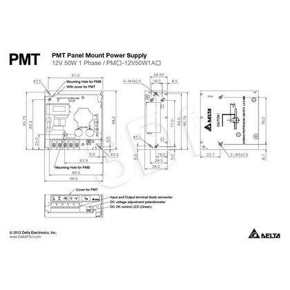 Jednowyjściowy zasilacz modułowy do zabudowy DELTA PMT-12V50W1AA (12V 50W)