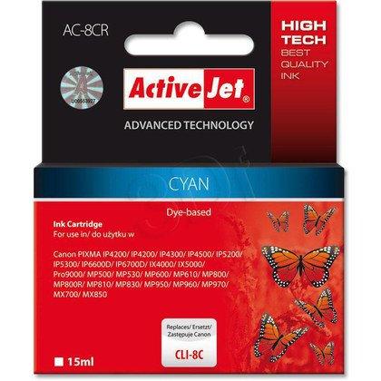 ActiveJet AC-8CR (ACR-8C) tusz cyan do drukarki Canon (zamiennik Canon CLI-8C) (chip)