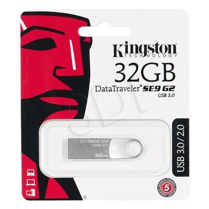 Kingston Flashdrive DataTraveler SE9 G2 32GB USB 3.0 Srebrny