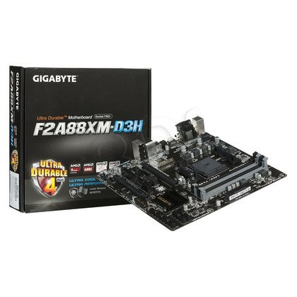 GIGABYTE GA-F2A88XM-D3H A88X SFM2+ (PCX/DZW/GLAN/SATA3/USB3/RAID/DDR3/CROSSFIRE) mATX