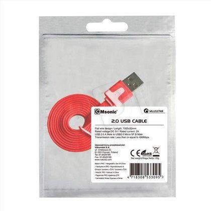 MSONIC KABEL MICRO USB 2.0 A-B M/M 1M, PŁASKI DESIGN, MLU527NR CZERWONY