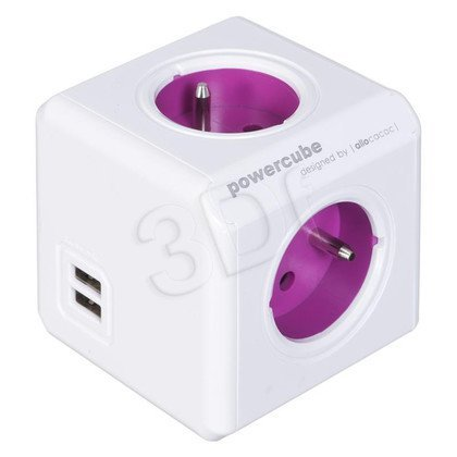 Allocacoc Rozgałęźnik PowerCube ReWirable USB (4szt. gniazd biało-fioletowy)