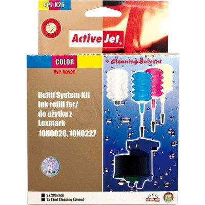 ActiveJet APL-K26 kolorowy, system uzupełnień do Lexmark 26/27 3x28ml + 1x28ml płyn do czyszczenia głowicy + klip.