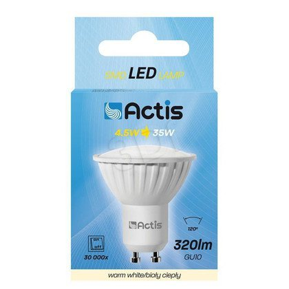 LED SMD ACTIS ACS-S6010W GU10 320lm 4,5W b.ciepły