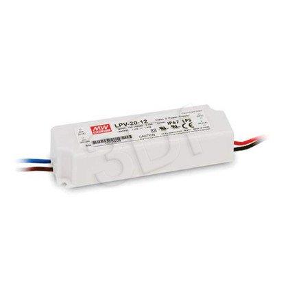 Zasilacz stałonapięciowy do LED MEAN WELL LPV-20-12 (12V 20W) biały