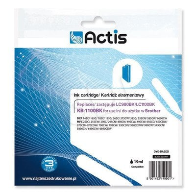 Actis KB-1100Bk tusz czarny do drukarki Brother (zamiennik Brother LC1100Bk) Standard