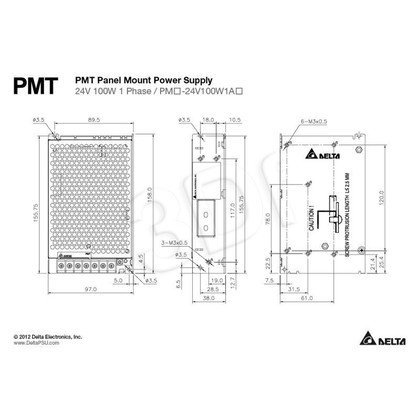 Jednowyjściowy zasilacz modułowy do zabudowy DELTA PMT-24V100W1AA (24V 108W)