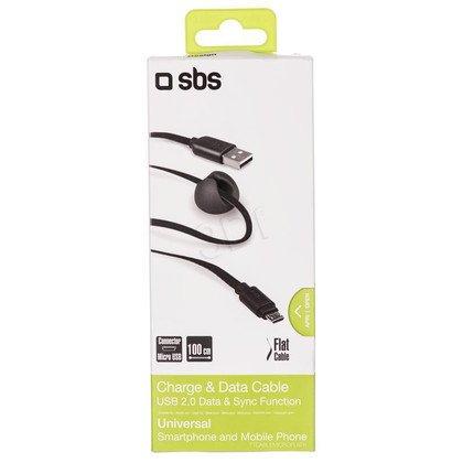 SBS Plaski Kabel USB - microUSB 1 m czarny + uchwyt