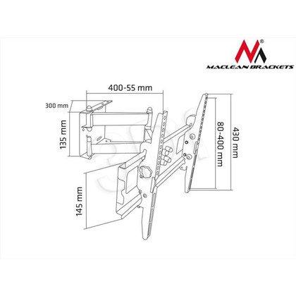 "MACLEAN UCHWYT DO TELEWIZORA 22-47"" MC-651 CZARNY DO 50KG MAX VESA 400X400"