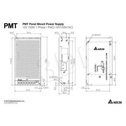 Jednowyjściowy zasilacz modułowy do zabudowy Delta PMT-12V150W1AA (12V 150W)