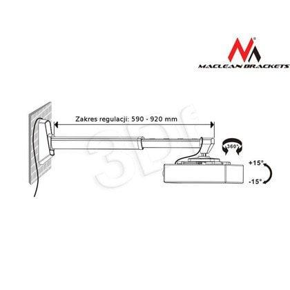 MACLEAN UCHWYT DO PROJEKTORA KRÓTKOOGNISKOWEGO MC-600 MAX 10KG SREBRNY