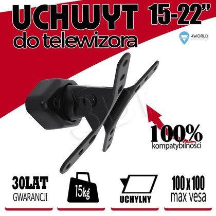 4WORLD UCHWYT ŚCIENNY DO TV LCD 15-22'' UCHYLNY OBROTOWY PIVOT MAX.15KG CZARNY