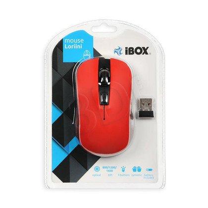 I-BOX Mysz bezprzewodowa optyczna Loriini Red 1600dpi czerwono-czarna