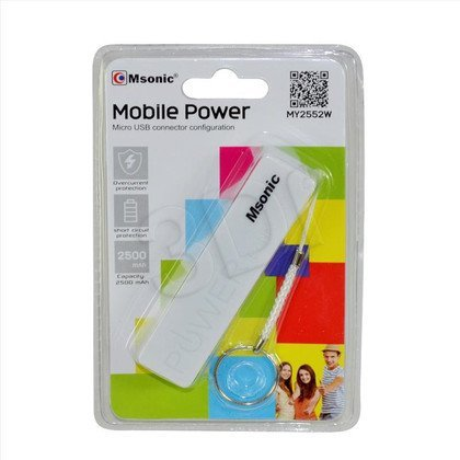 MSONIC POWER BANK 2500MAH, LI-ION MY2552W BIAŁY