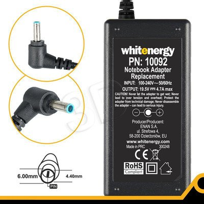 WHITENERGY ZASILACZ AC DO LAPTOPA SONY VAIO VGA VGN 19.5V 4.7A 6,0X4,4X9,5MM