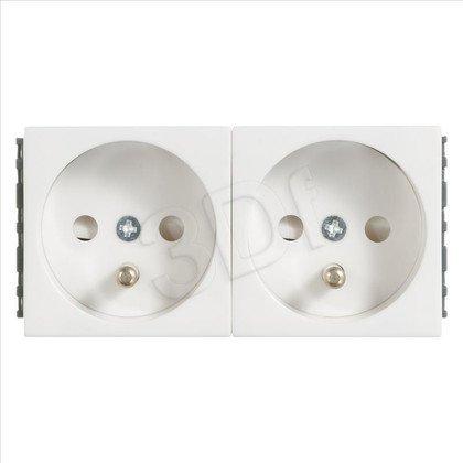 ALANTEC Gniazdo elektryczne 45x90, białe- 2x2P+Z