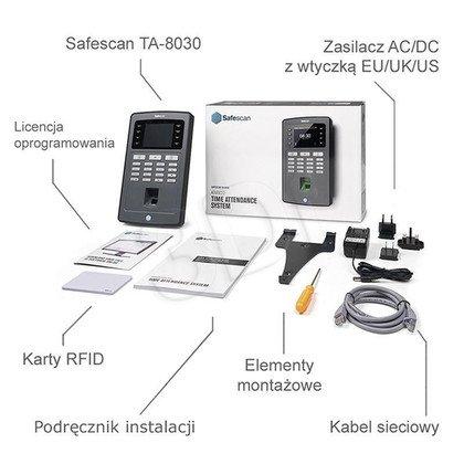 SAFESCAN SYSTEM REJESTRACJI CZASU PRACY TA-8030 CZUJNIK ODCISKÓW PALCÓW/CZYTNIK KART RFID/KONTROLA LAN/EKRAN TFT
