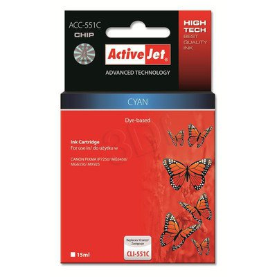 ActiveJet ACC-551CN tusz cyan do drukarki Canon (zamiennik Canon CLI-551C) Supreme/ chip