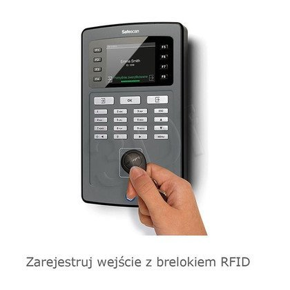 SAFESCAN SYSTEM REJESTRACJI CZASU PRACY TA-8015 CZYTNIK KART RFID/KOD PIN/KONTROLA LAN I WIFI/EKRAN TFT/KOLOR CZARNY