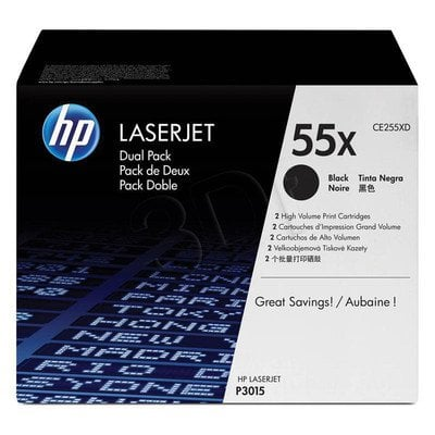 HP Toner HP55Xx2=CE255XD, Zestaw 2xBk, 2xCE255X