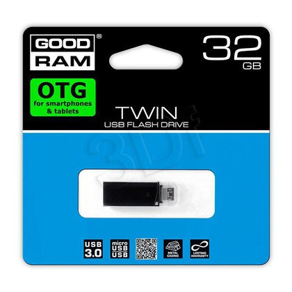 Goodram Flashdrive TWIN 32GB USB 3.0 Czarny