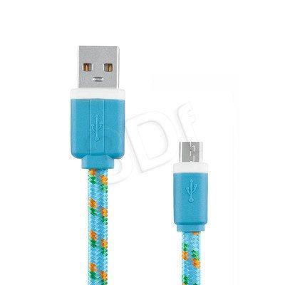 EXC UNIWERSALNY KABEL MICRO USB, SLIM, 1.5 METRA, NIEBIESKI