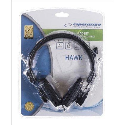 Słuchawki nauszne z mikrofonem Esperanza HAWK EH155K (Czarno-srebrny)