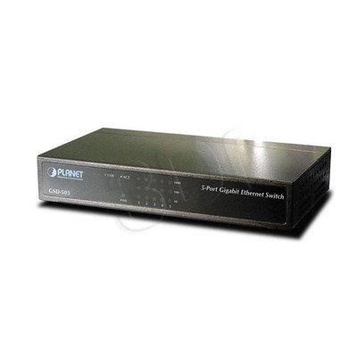 PLANET / Niezarządzalny / (GSD-503) - 5 x 1000Base-T - 10Gbps, 8K, 1Mbit