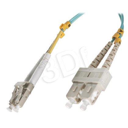 ALANTEC patchcord światłowodowy MM LSOH 1m OM3 LC-SC duplex 50/125 turkusowy