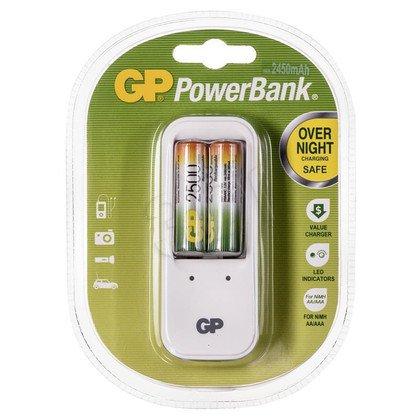 GP Ładowarka uniwersalna PB410 2xAA/AAA Akumulatory w zestawie 2x250AAHC