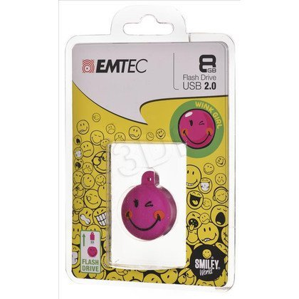 Emtec Flashdrive Smiley World 8GB USB 2.0 różowy