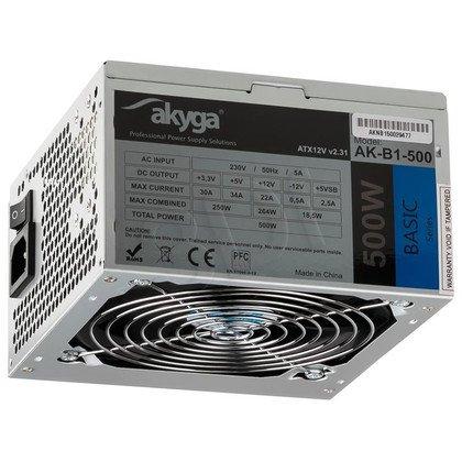 AKYGA ZASILACZ BASIC ATX 500W P4 FAN12CM 3XSATA 2xMOLEX PCI-E 6PIN