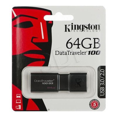 Kingston Flashdrive DataTraveler 100 G3 64GB USB 3.0 Czarny